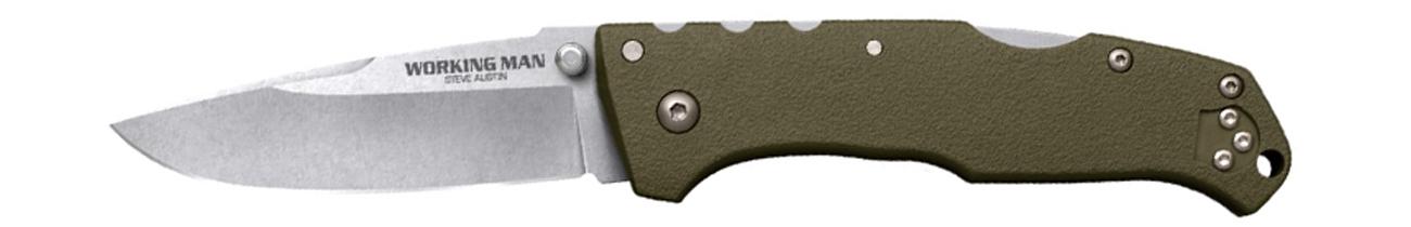 Nóż składany Cold Steel Steve Austin Working Man OD Green z otwartym ostrzem