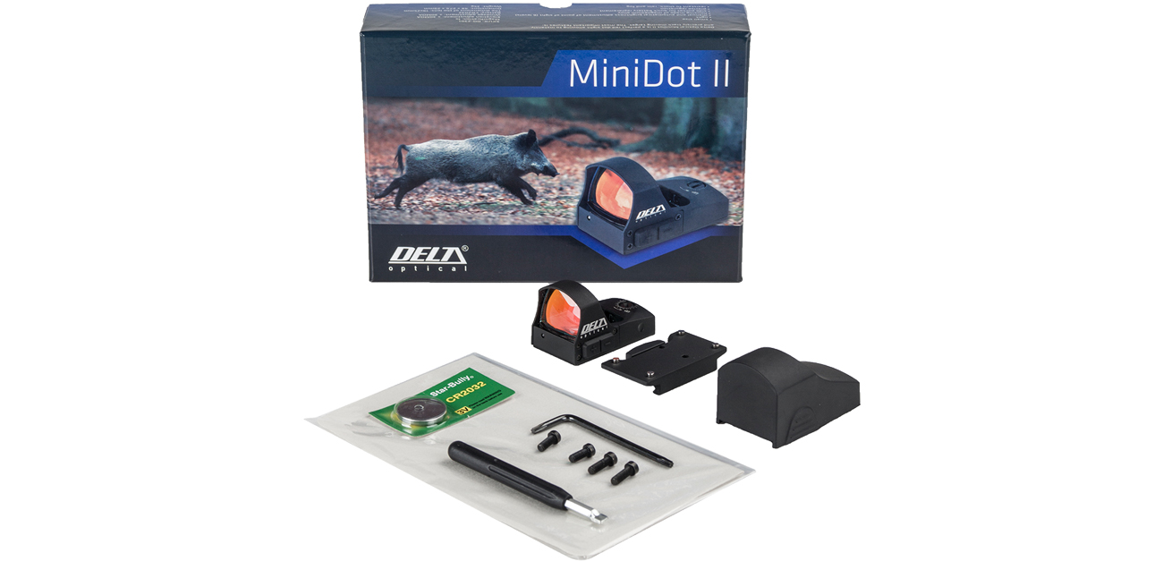 Celownik kolimatorowy Delta Optical MiniDot II z zestawem akcesoriów