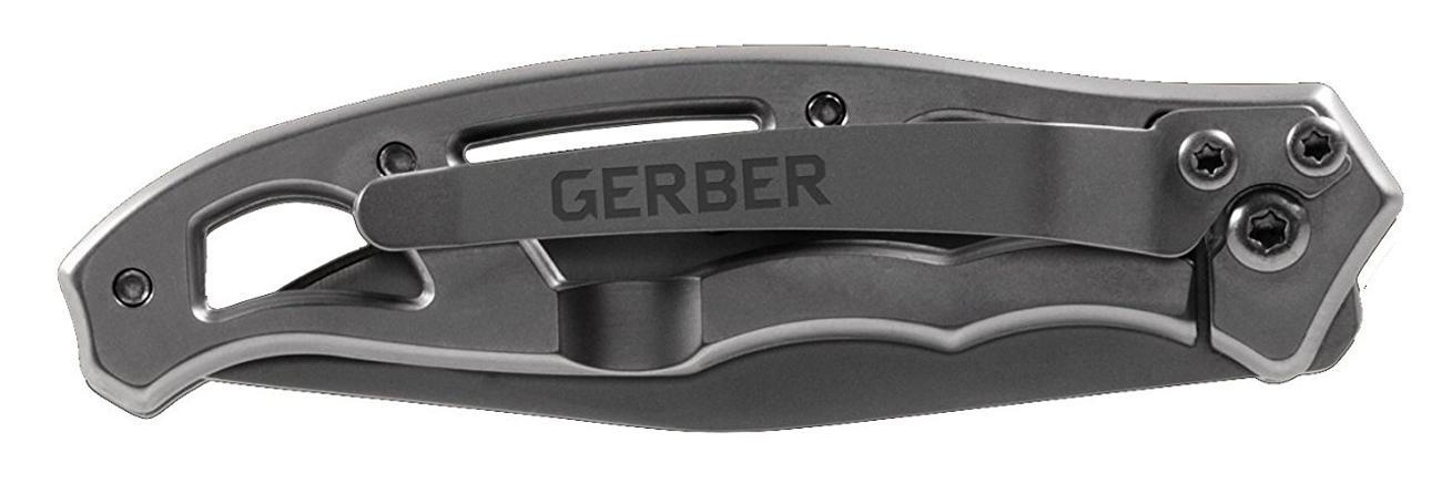 Złożony nóż Gerber Gear Paraframe II - Stainless, Serrated (Blister) z widocznym klipsem