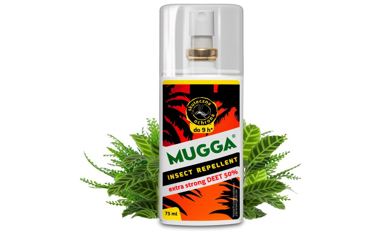 Spray na komary tropikalne, europejskie oraz kleszcze Mugga Extra Strong 50% DEET