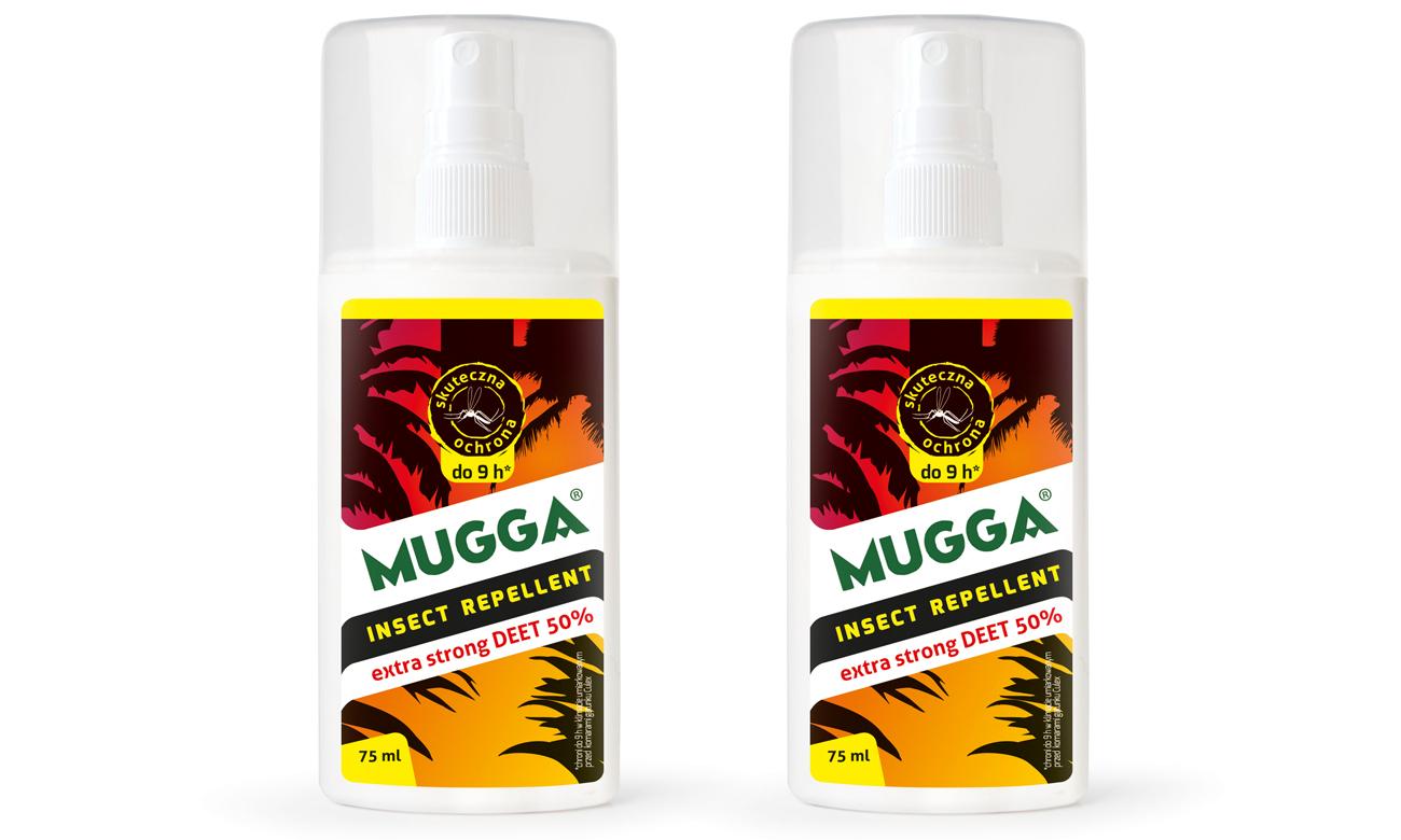 Spray na komary tropikalne, europejskie oraz kleszcze Mugga Extra Strong 50% deet - zestaw 2 szt.