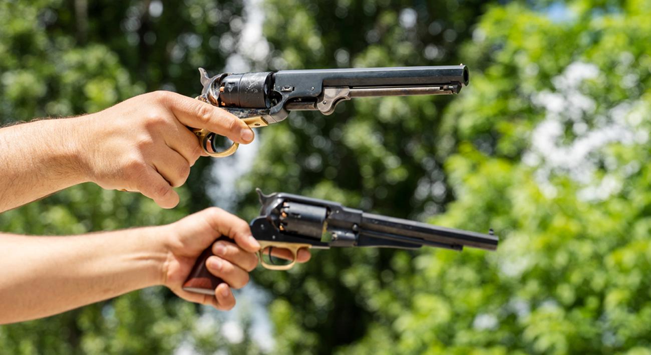 Rewolwer CP Pietta 1851 Colt Navy Yank .44 strzelanie w plenerze