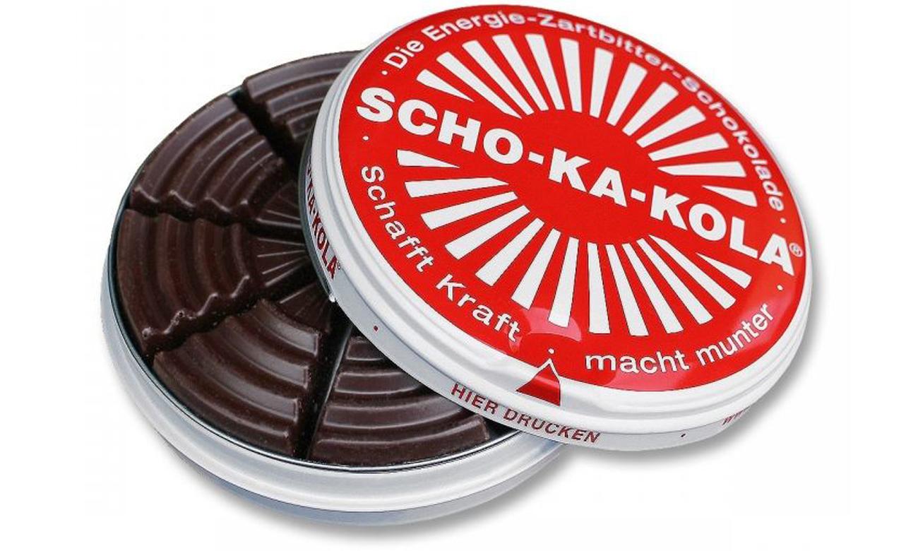 Czekolada Scho-Ka-Kola gorzka z kofeiną otwarte opakowanie