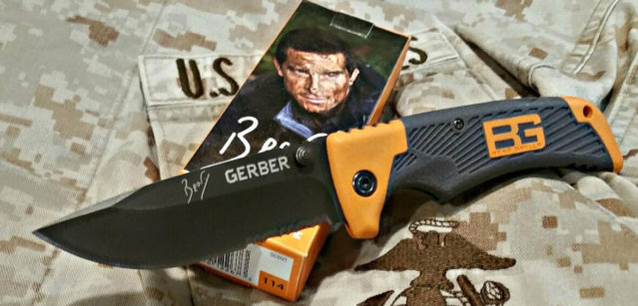 Gumowa rękojeść noża składanego Gerber Gear Bear Grylls Survival Series Scout