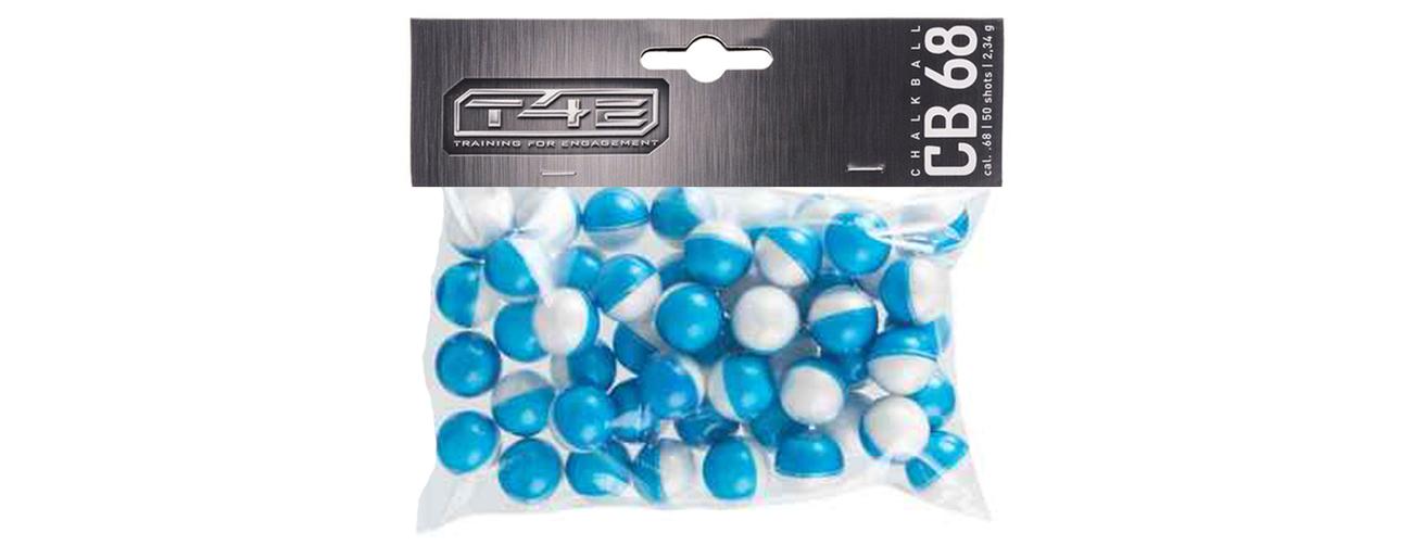 Kule polimerowe zawierające biały puder markujący T4E CB68 kal. 17,27 mm .68 cala