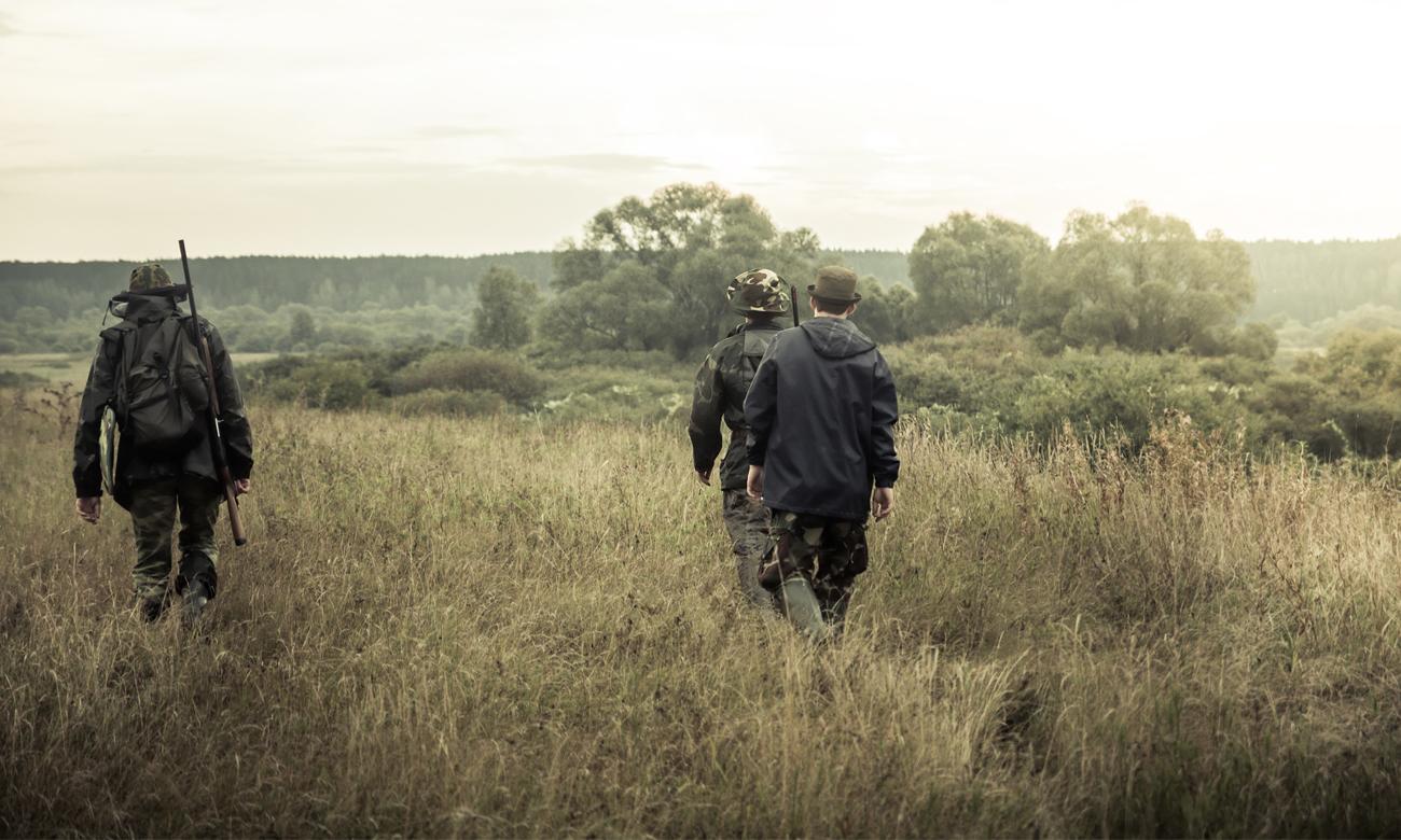 Mężczyźni na łące w poszukiwaniu zwierzyny